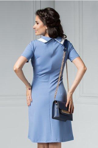 Rochie Peggy bleu scurta office cu aplicatii la guler