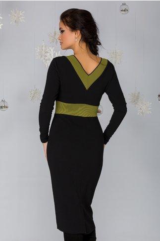 Rochie Penny neagra cu banda elastica verde kaki