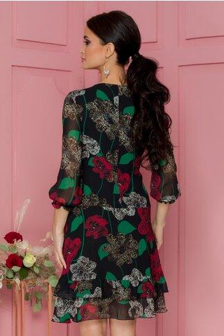 Rochie Perla neagra cu imprimeu floral maxi