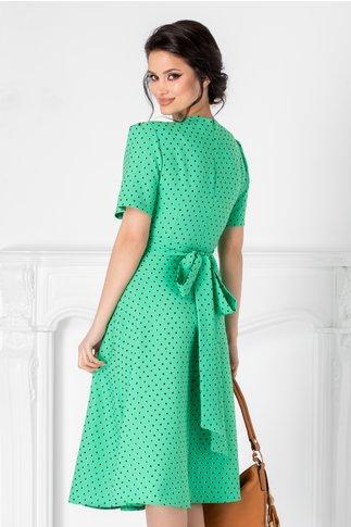 Rochie Perrey verde cu buline negre si detalii aurii