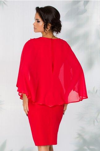 Rochie Petra rosie cu voal tip capa