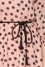 Rochie Petra roz pudrat din voal imprimat cu buline negre