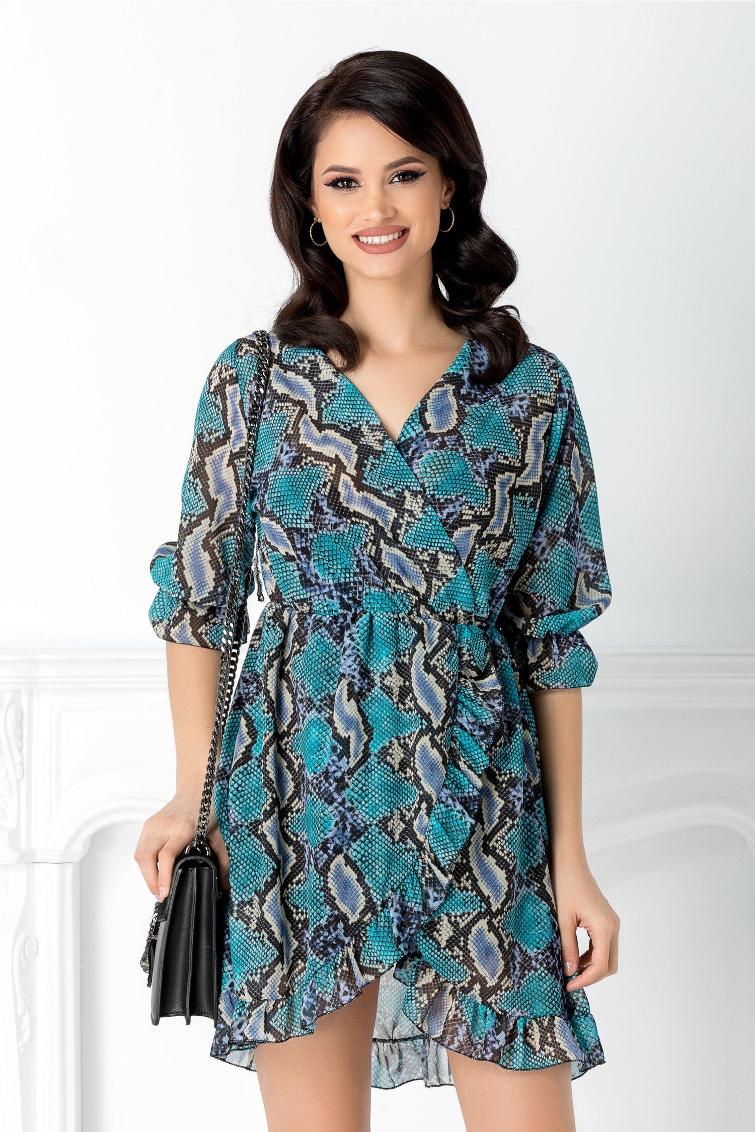 Rochie petrecuta cu print piele de sarpe albastru