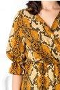 Rochie  petrecuta cu print piele de sarpe galben mustar