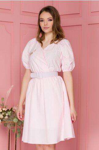 Rochie Pixie roz cu talie elastica si maneci scurte
