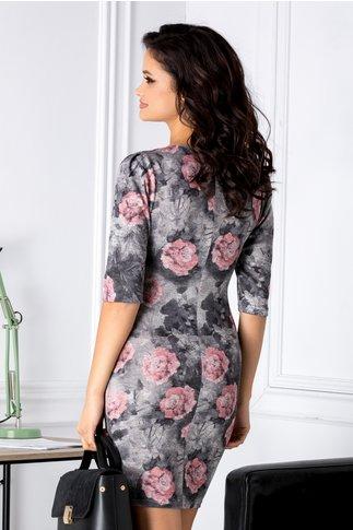 Rochie Powder conica cu imprimeu floral roz