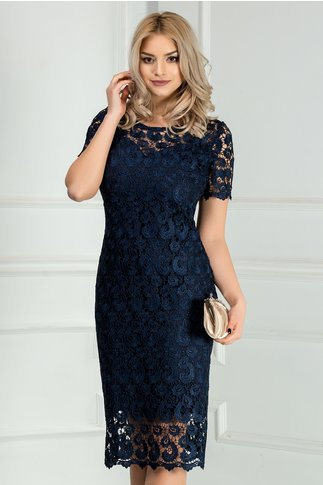 Rochie Prestige bleumarin din dantela eleganta