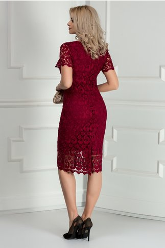Rochie Prestige bordo din dantela eleganta