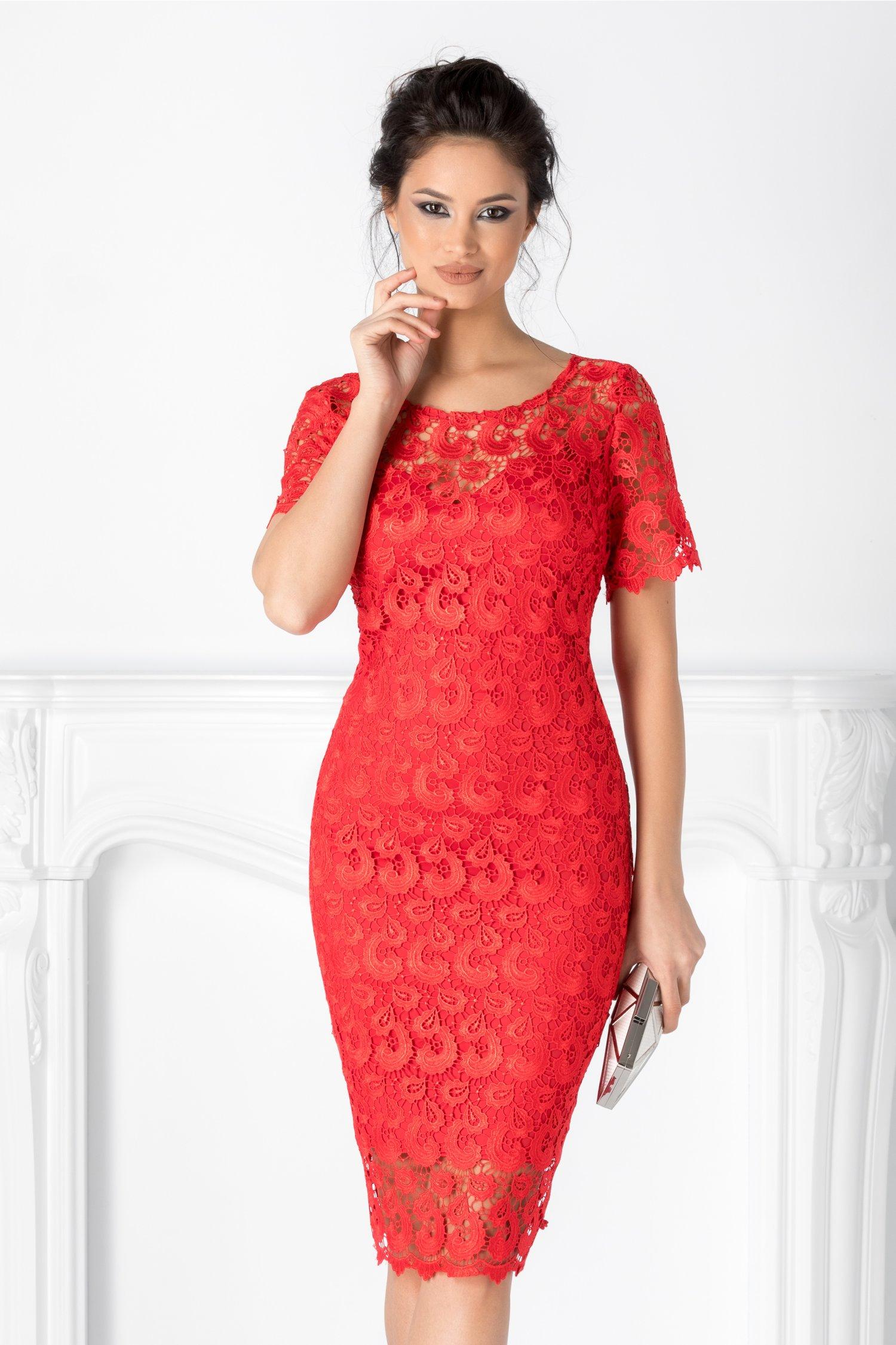 Rochie Prestige rosie eleganta din dantela