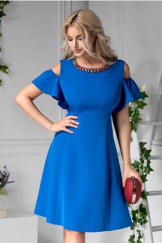 Rochie Preta clos de ocazie cu aplicatii la guler albastra