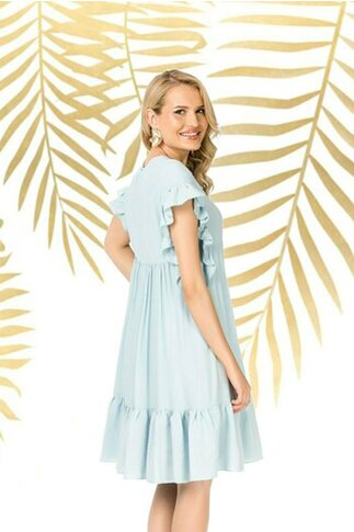 Rochie Pretty Girl bleu lejera de vara cu volane