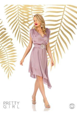 Rochie Pretty Girl lila cu lungime asimetrica si design petrecut
