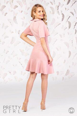 Rochie Pretty Girl roz cu nasturi si volan