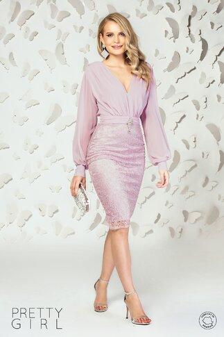 Rochie Pretty Girl roz pal cu bustul din voal si fusta din dantela