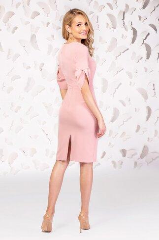 Rochie Pretty Girl roz pudra cu nasturi si maneci fantezie