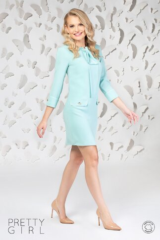 Rochie Pretty Girl verde mint cu accesoriu la decolteu