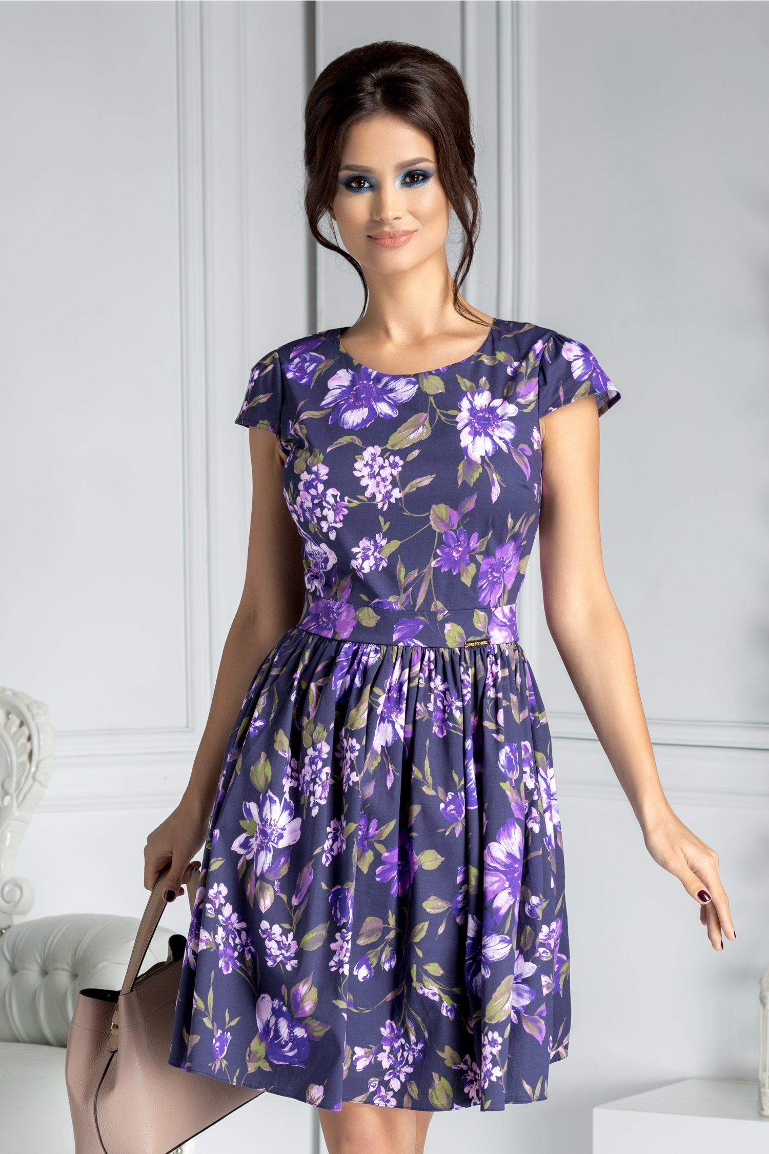 Rochie Purple clos mov inchis cu imprimeu floral violet
