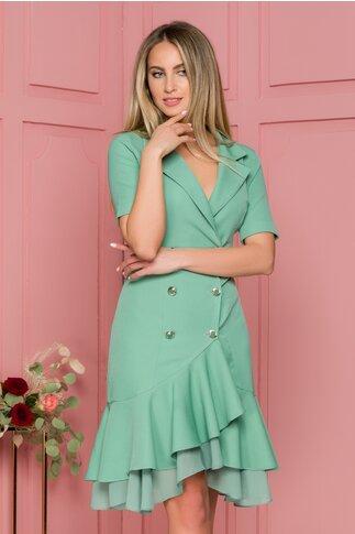Rochie Queen verde pastel cu croi petrecut si volane la baza