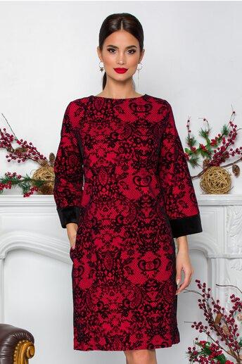 Rochie Rahela rosie cu aplicatii florale negre din catifea