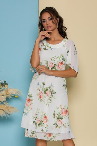 Rochie Raisa alba vaporoasa cu imprimeuri florale in nuante pastelate