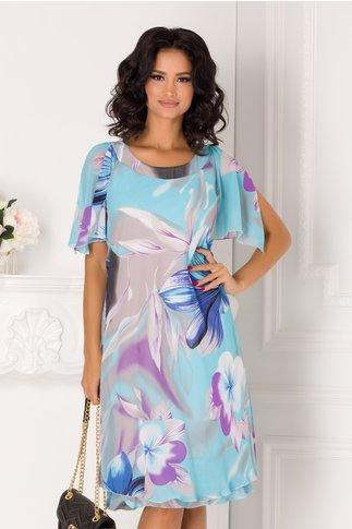 Rochie Raisa bleu vaporoasa cu imprimeu floral