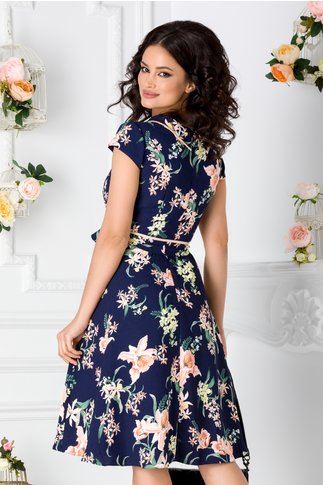 Rochie Raisa bleumarin cu imprimeu floral corai