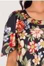 Rochie Raisa bleumarin vaporoasa cu imprimeu floral