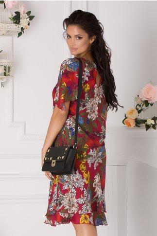 Rochie Raisa bordo cu imprimeu floral multicolor