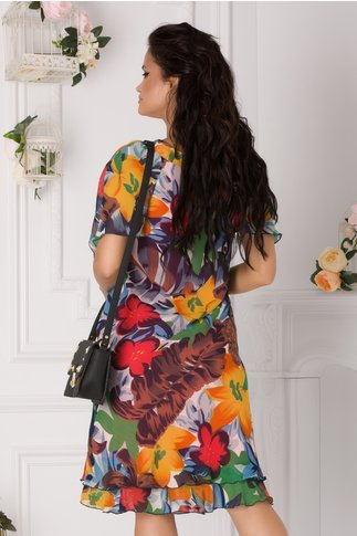 Rochie Raisa cu imprimeu floral multicolor