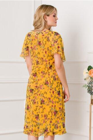 Rochie Raisa galben mustar vaporoasa cu imprimeuri florale