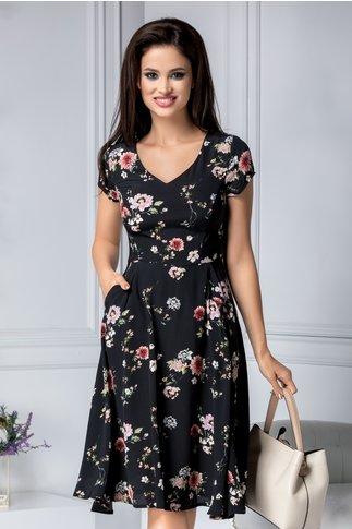 Rochie Raisa neagra cu imprimeu floral