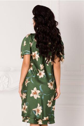 Rochie Raisa verde vaporoasa cu imprimeu floral