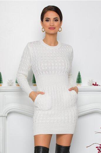 Rochie Raluca alba din tricot cu design impletit