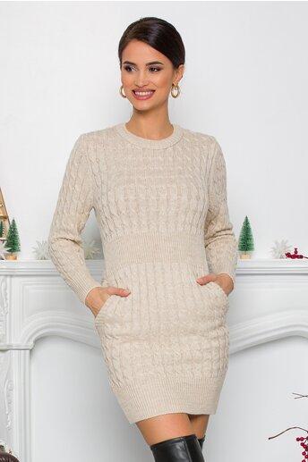 Rochie Raluca bej din tricot cu design impletit