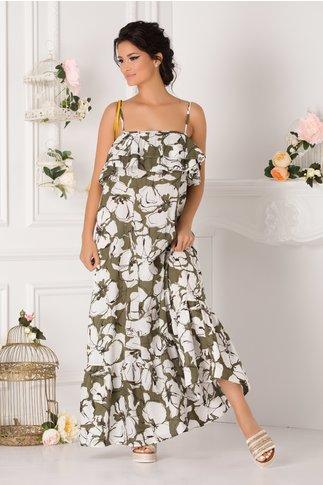 Rochie Raluca lunga kaki cu imprimeuri florale si bolane la bust