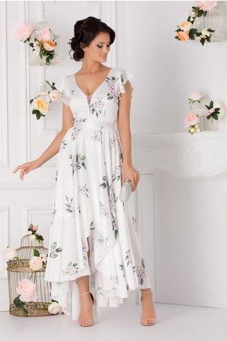 Rochie Ramona alb perlat cu imprimeu floral si cordon in talie