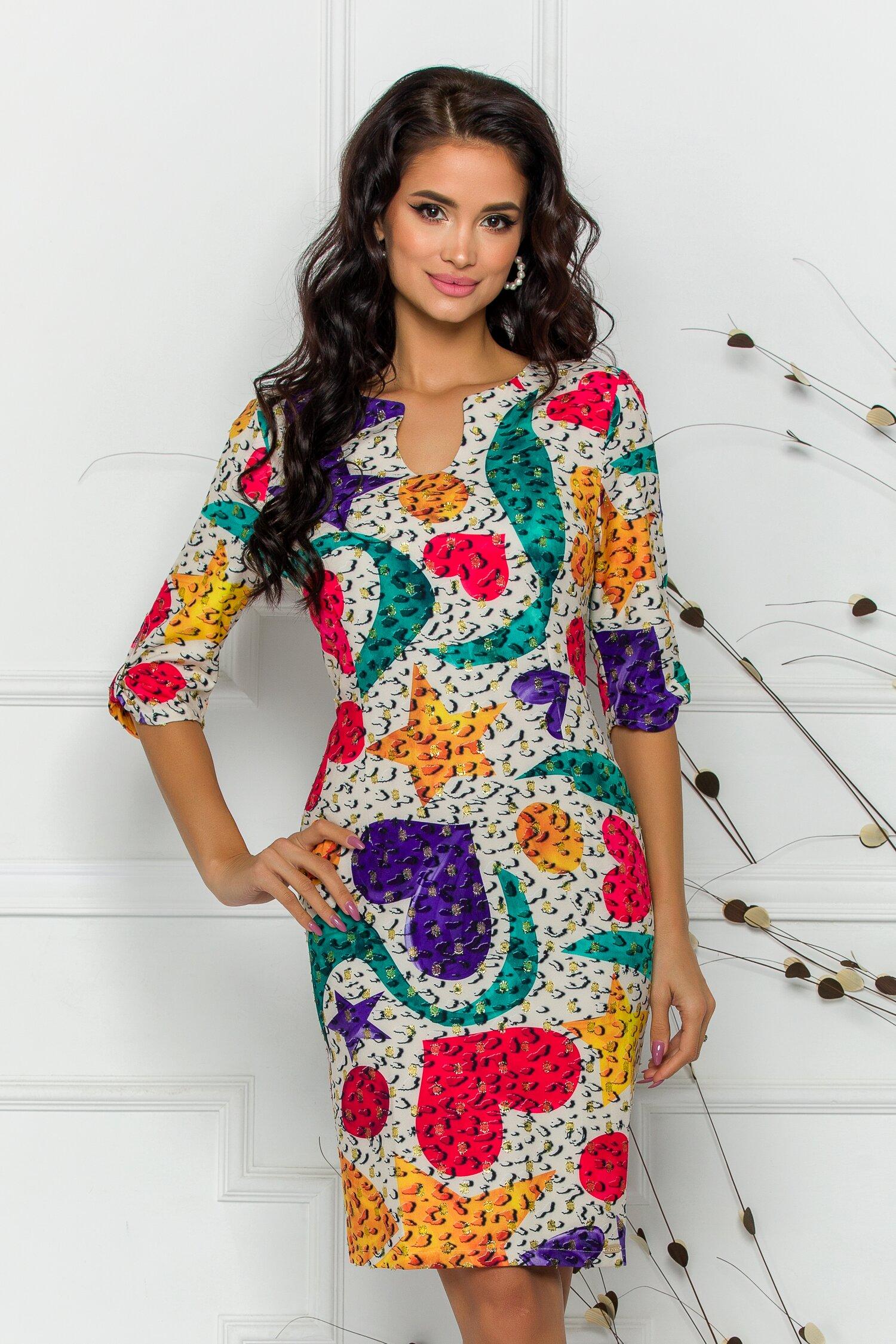 Rochie Ramona cu imprimeuri colorate si buline din fir lurex