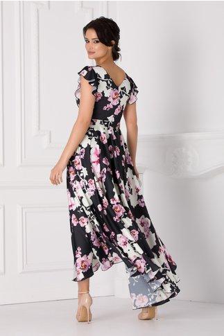 Rochie Ramona neagra cu imprimeu floral si cordon in talie