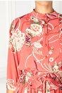Rochie Ramy roz cu imprimeu floral si volanase