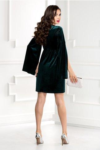 Rochie Rania din catifea verde cu maneci despicate