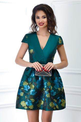 Rochie Rania scurta verde cu imprimeuri
