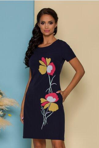 Rochie Raven bleumarin cu imprimeu floral pastelat
