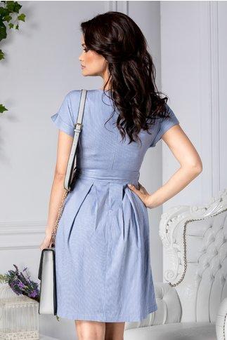 Rochie Raluk bleu cu dungi albe de zi
