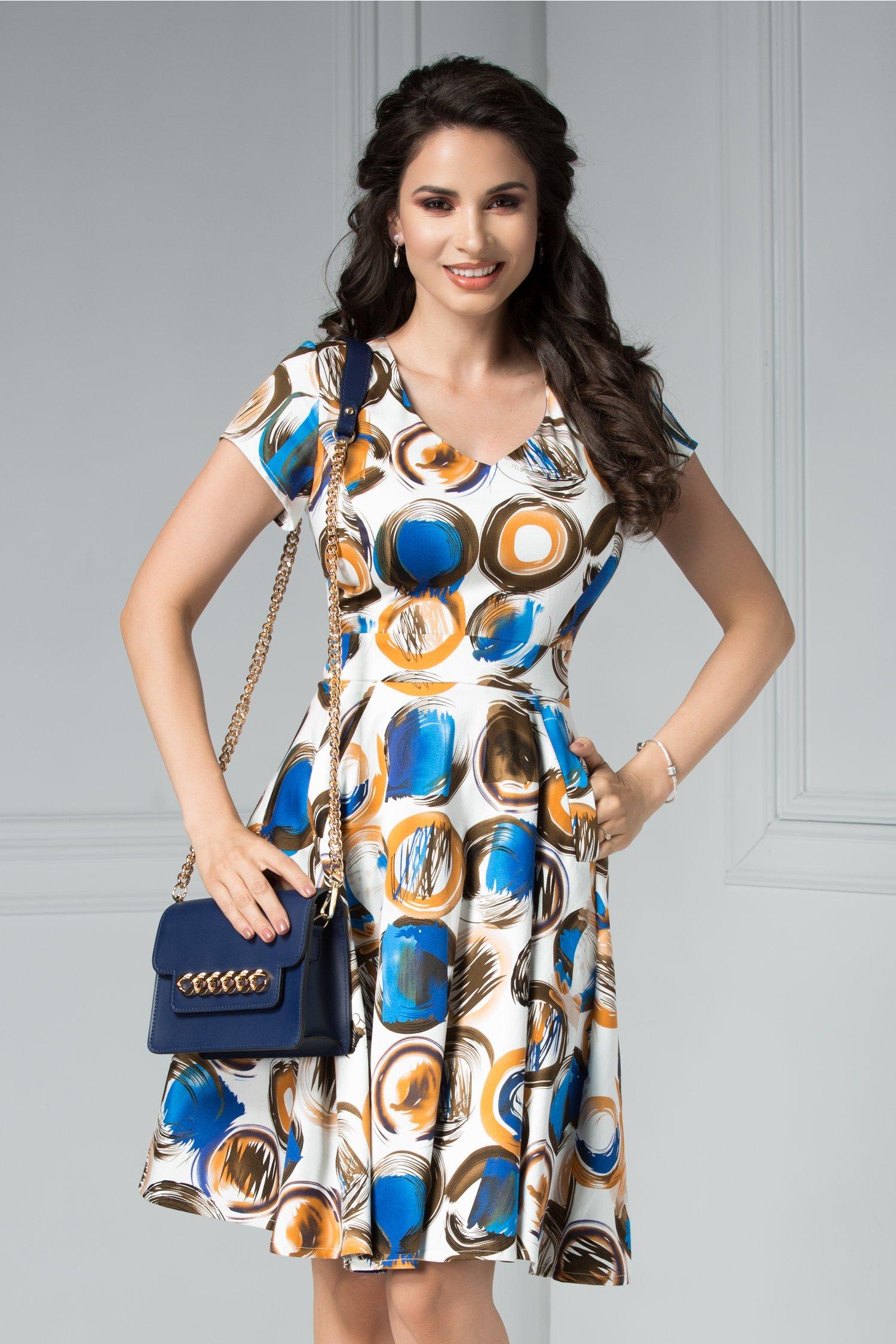 Rochie Reeva alba scurta cu imprimeu colorat deosebit