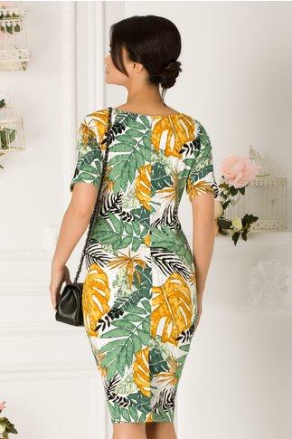 Rochie Rena alba cu imprimeu exotic