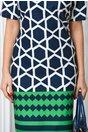 Rochie Rena bleumarin cu hexagon si romb verde