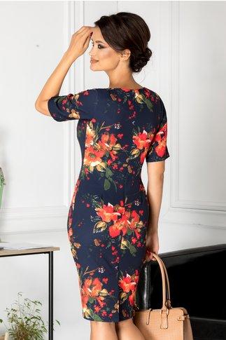Rochie Rena bleumarin cu imprimeu floral rosu