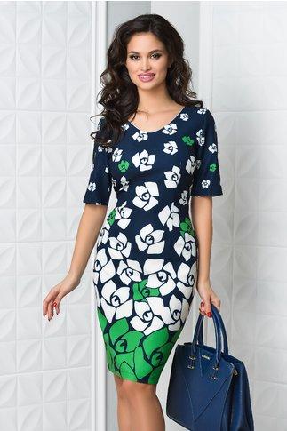 Rochie Rena bleumarin cu imprimeu floral verde