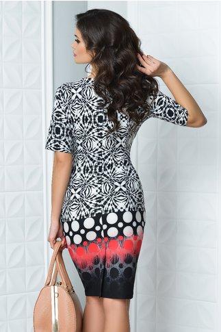Rochie Rena cu imprimeu negru si cercuri rosii