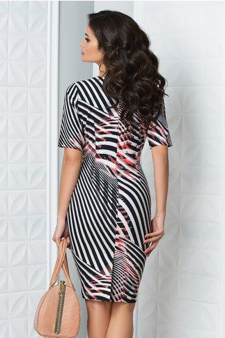 Rochie Rena cu imprimeu zebra negru roz